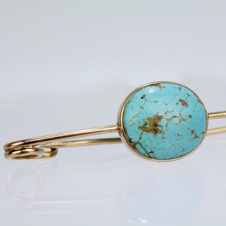 Large 14 Karat Gold and Turquoise Cabachon Brooch or Scarf Pin For Sale 2