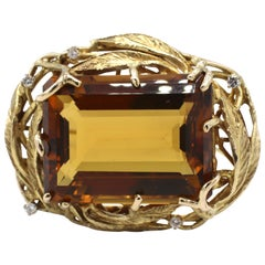 Large 14 Karat Yellow Gold Citrine and Diamond Pin Brooch