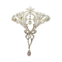 Large 14k Victorian Three Carat Genuine Natural Diamond Pin Pendant '#J3342'