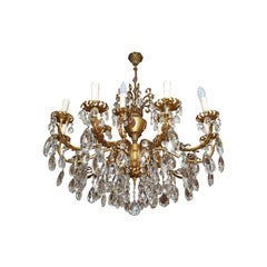 Large 15-Candles Chandelier in Rococo Style, Metal and Crystal