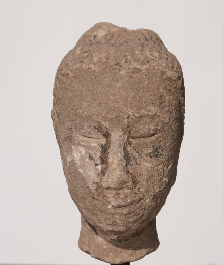 Ming Large 15th-16th Century Sandstone Thai Buddha Head For Sale