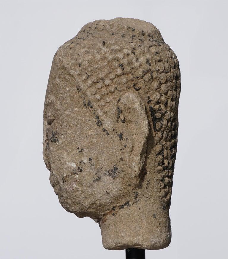 Large 15th-16th Century Sandstone Thai Buddha Head In Good Condition For Sale In Dallas, TX