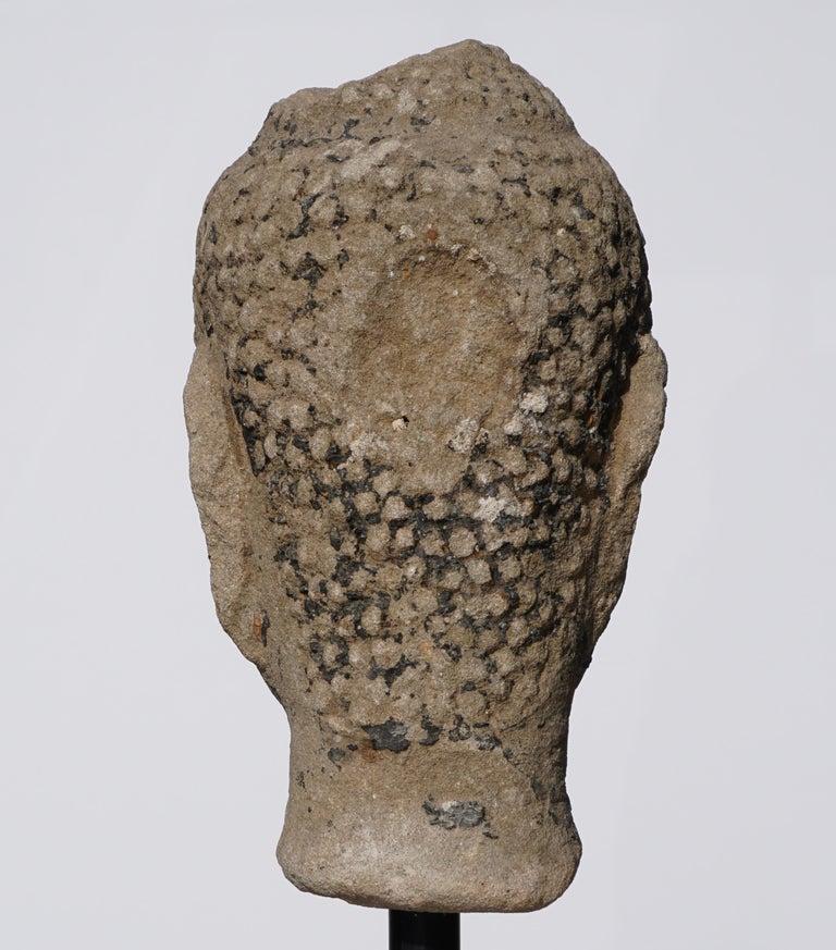 Large 15th-16th Century Sandstone Thai Buddha Head For Sale 1