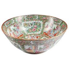 Large Chinese Export Rose Medallion Porcelain Punch Bowl