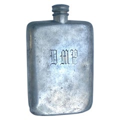 Large 16 Oz Sheffield James Dixon & Son's Liquor Hip Flask with Monogram