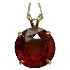 Large 16.26ct Round Cut Vivid Orange Hessonite Garnet Solitaire Pendant