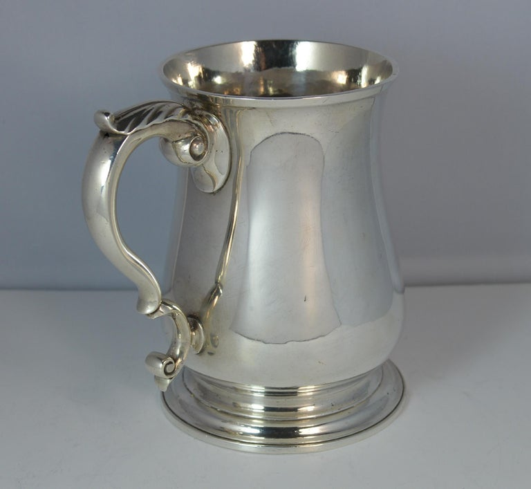 George II Large 1748 Georgian William Gould Plain Original Tankard Cup 13oz+ For Sale