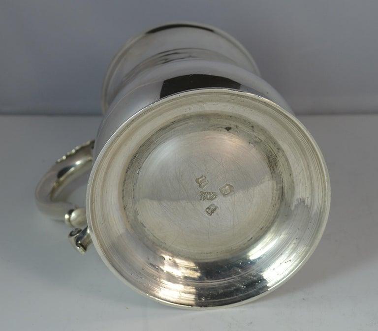 Large 1748 Georgian William Gould Plain Original Tankard Cup 13oz+ For Sale 1