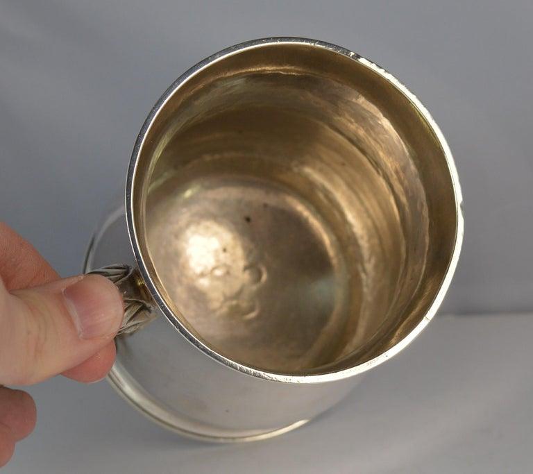 Large 1748 Georgian William Gould Plain Original Tankard Cup 13oz+ For Sale 3
