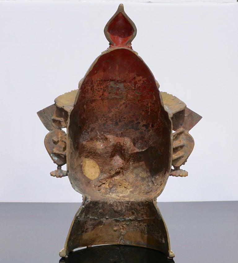 17th Century Large 17th-18th Century Indian Mukhalingam Gilt Bronze Mask For Sale