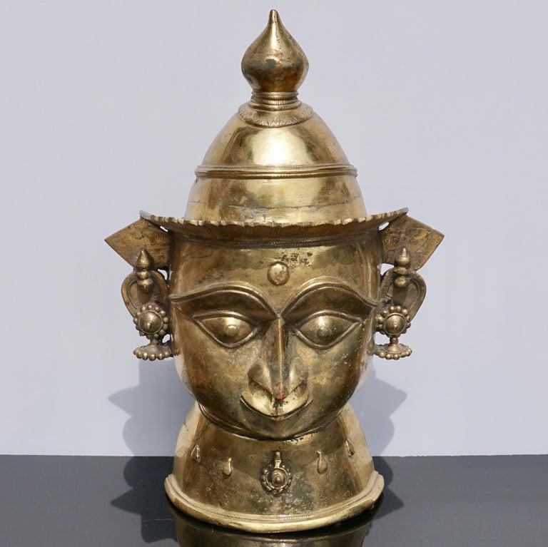 Large 17th-18th Century Indian Mukhalingam Gilt Bronze Mask For Sale 1