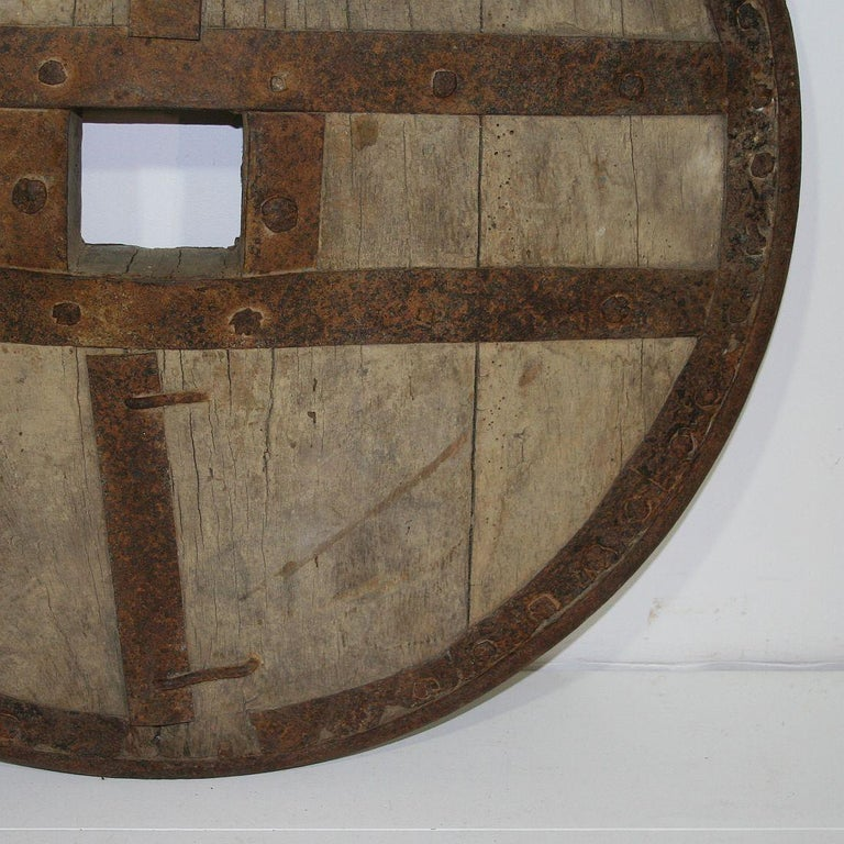 Large 17th-18th Century Primitive Spanish Chariot Wheel For Sale 5