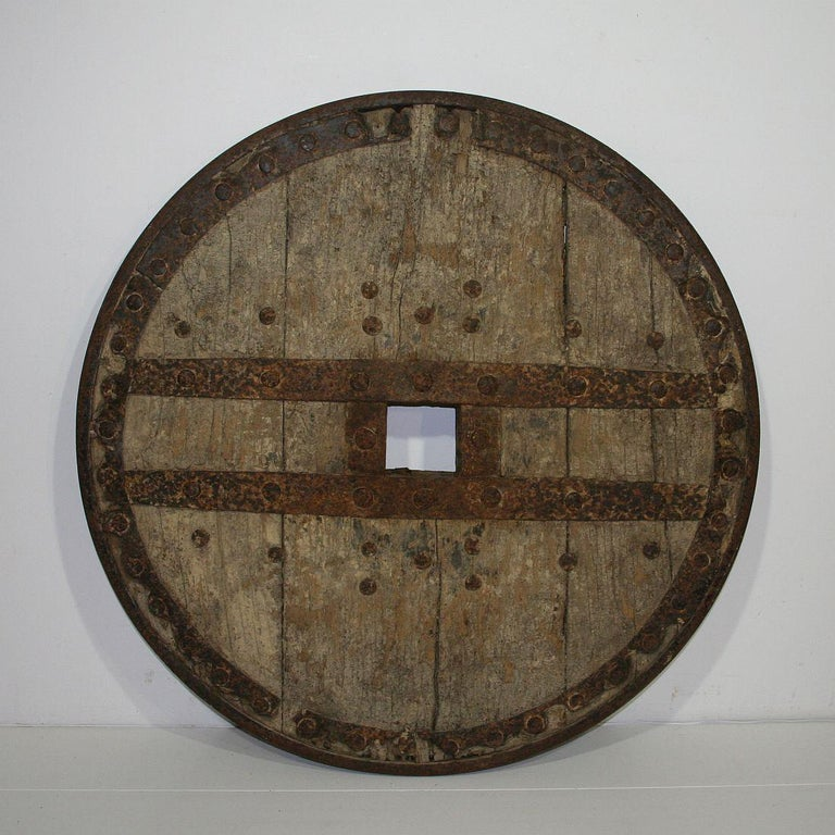 Large 17th-18th Century Primitive Spanish Chariot Wheel For Sale 6