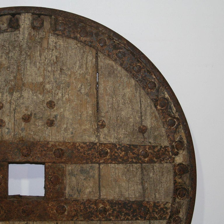 Large 17th-18th Century Primitive Spanish Chariot Wheel For Sale 8