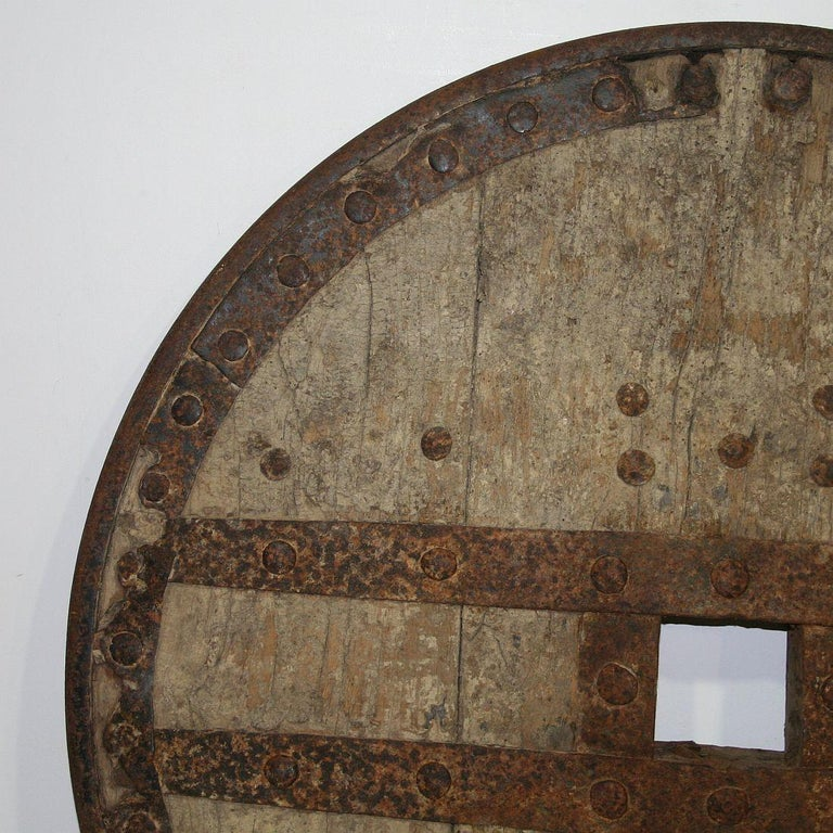 Large 17th-18th Century Primitive Spanish Chariot Wheel For Sale 9