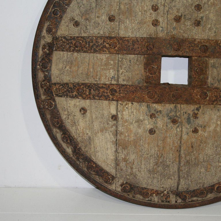 Large 17th-18th Century Primitive Spanish Chariot Wheel For Sale 10