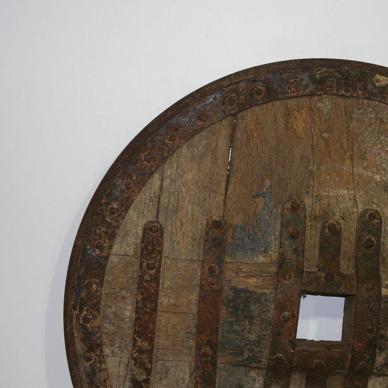 Wood Large 17th-18th Century Primitive Spanish Chariot Wheel For Sale