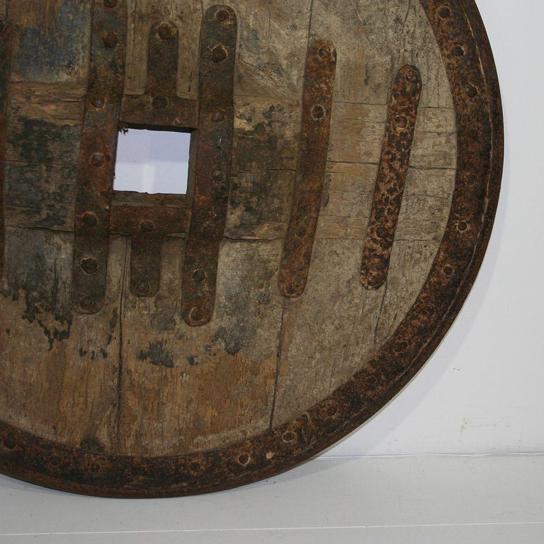 Large 17th-18th Century Primitive Spanish Chariot Wheel For Sale 3