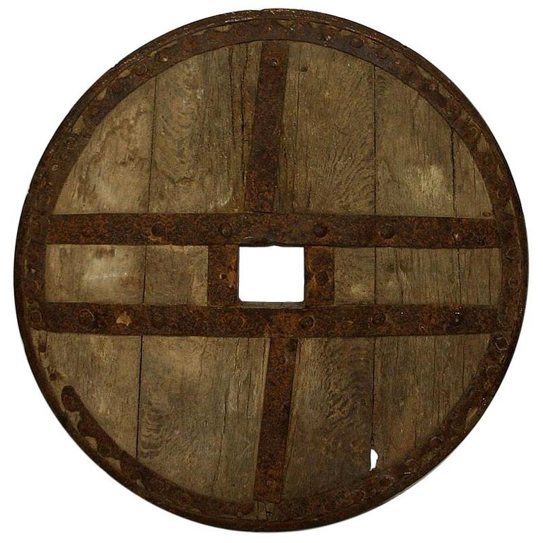 Large 17th-18th Century Primitive Spanish Chariot Wheel For Sale