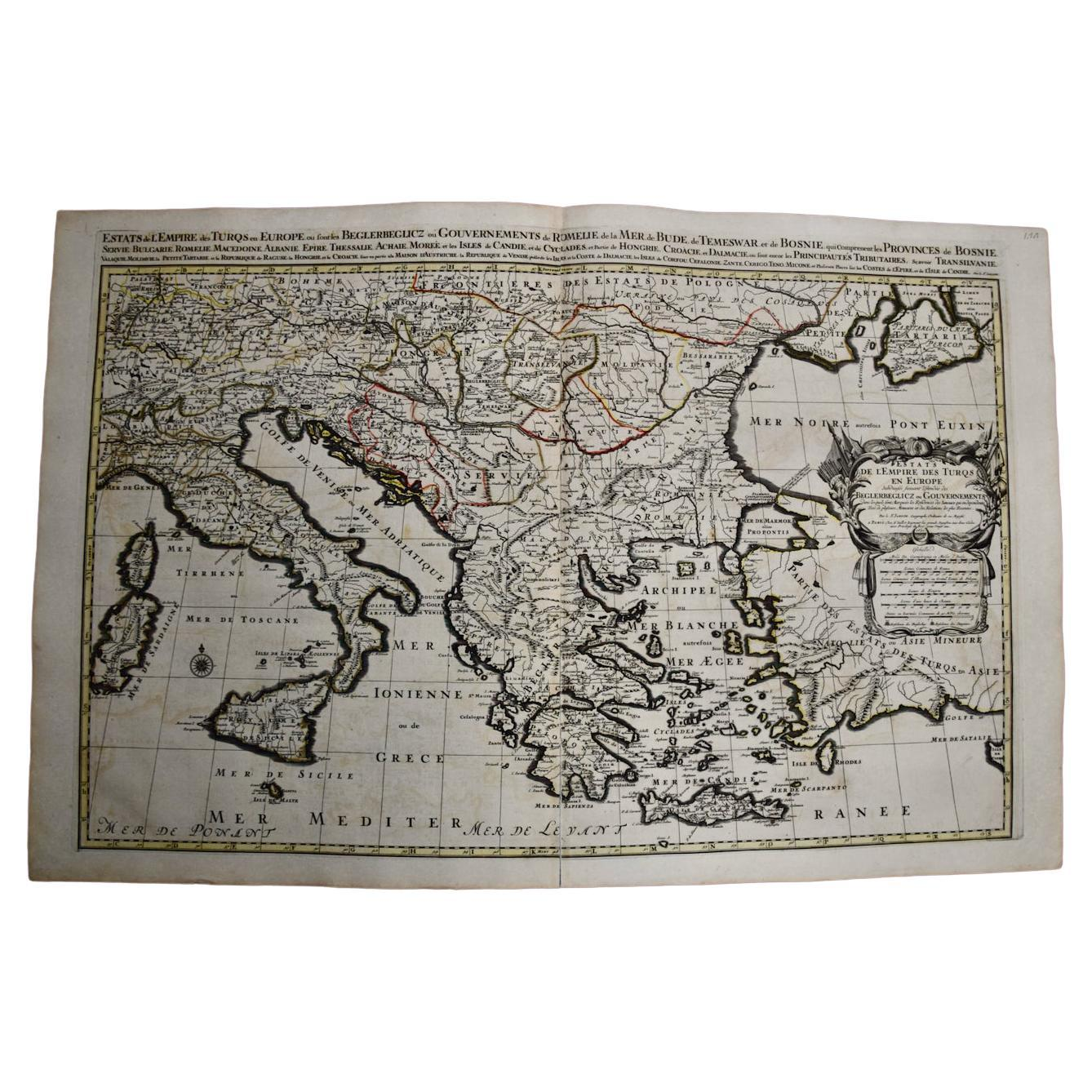 Large 17th C. Hand-colored Map of Southern & Eastern Europe by Sanson & Jaillot
