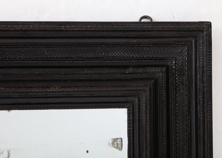Renaissance Large 17th C Italian Walnut Ebonized Guilloché Mirror, Italy For Sale