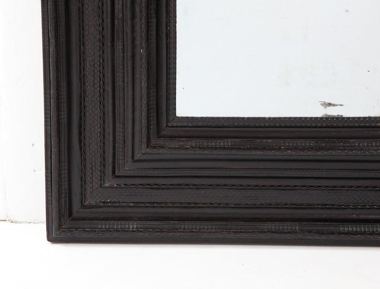 Large 17th C Italian Walnut Ebonized Guilloché Mirror, Italy For Sale 1