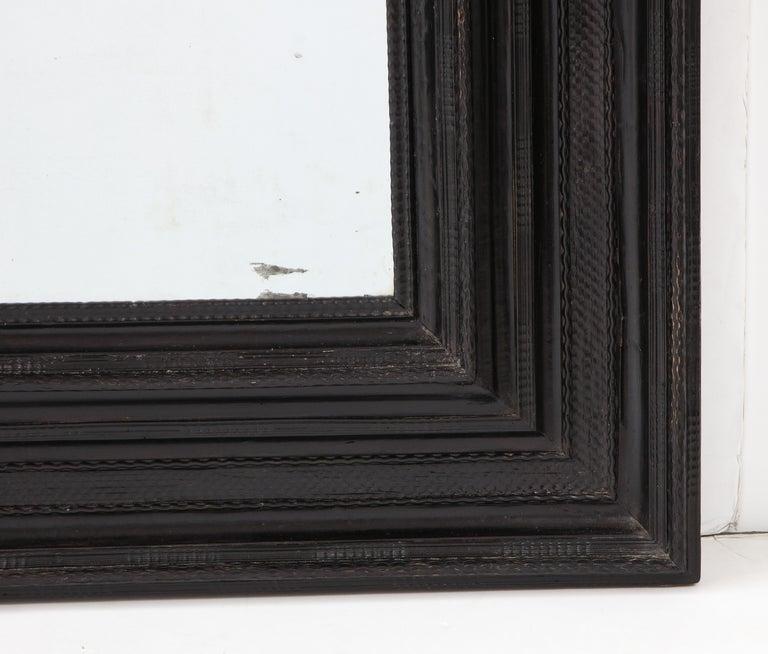 Large 17th C Italian Walnut Ebonized Guilloché Mirror, Italy For Sale 2