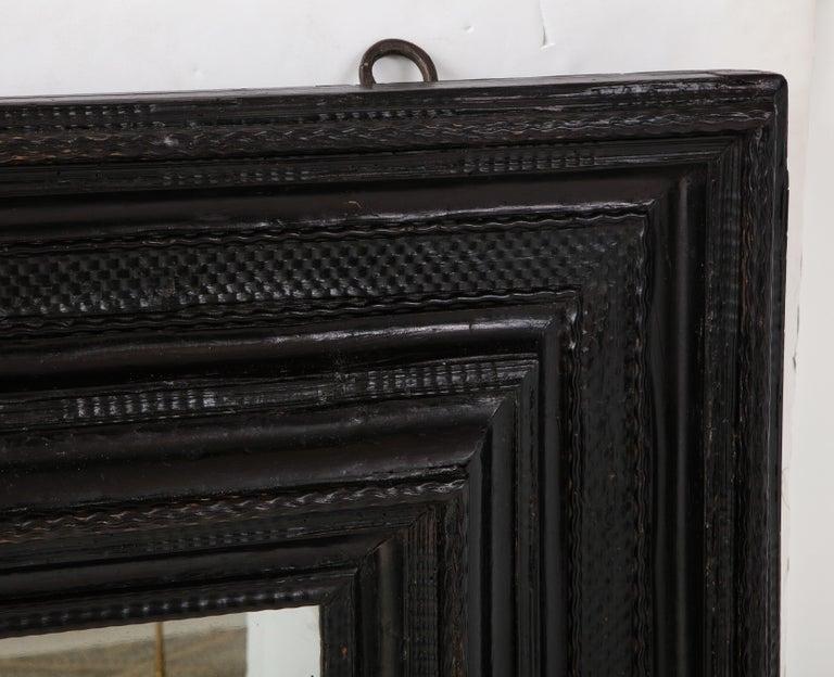 Large 17th C Italian Walnut Ebonized Guilloché Mirror, Italy For Sale 4
