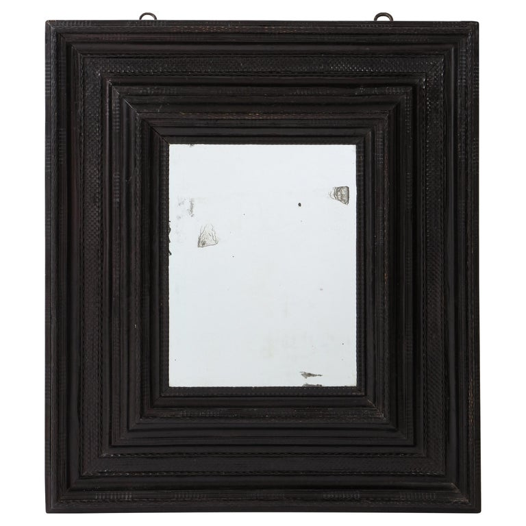 Large 17th C Italian Walnut Ebonized Guilloché Mirror, Italy For Sale