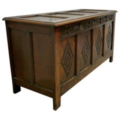 Large 17th Century Carved Oak Coffer