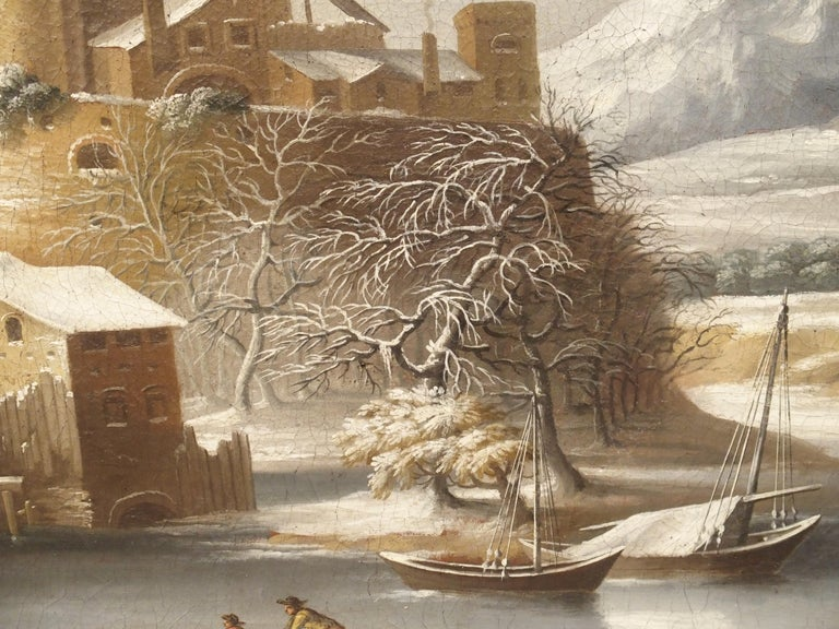 Large 17th Century Dutch Winter Scene Painting in Giltwood Frame For Sale 8