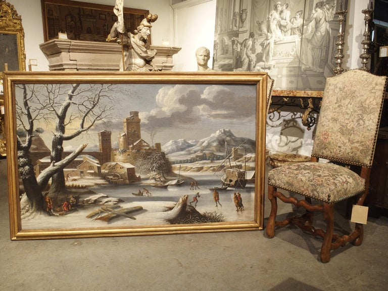 Large 17th Century Dutch Winter Scene Painting in Giltwood Frame For Sale 12