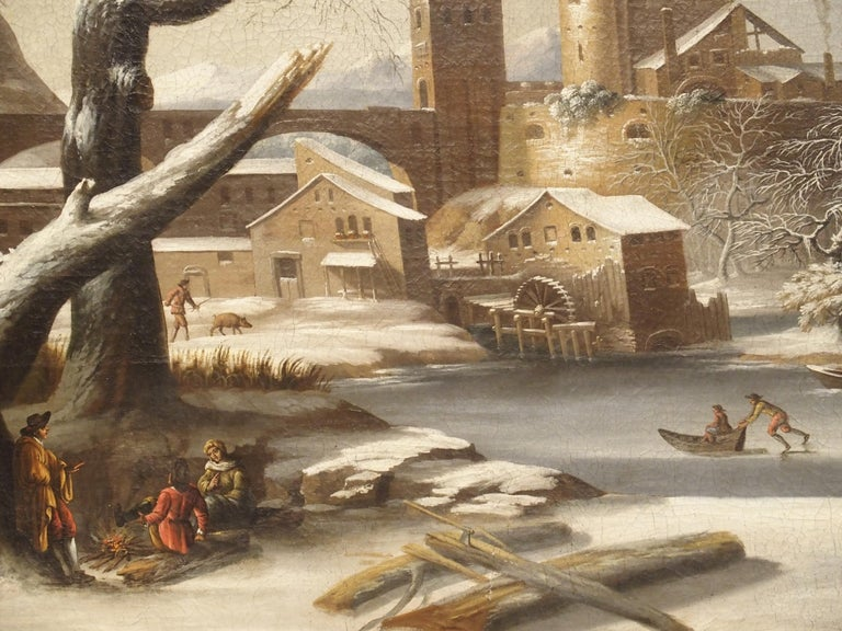 Large 17th Century Dutch Winter Scene Painting in Giltwood Frame For Sale 13