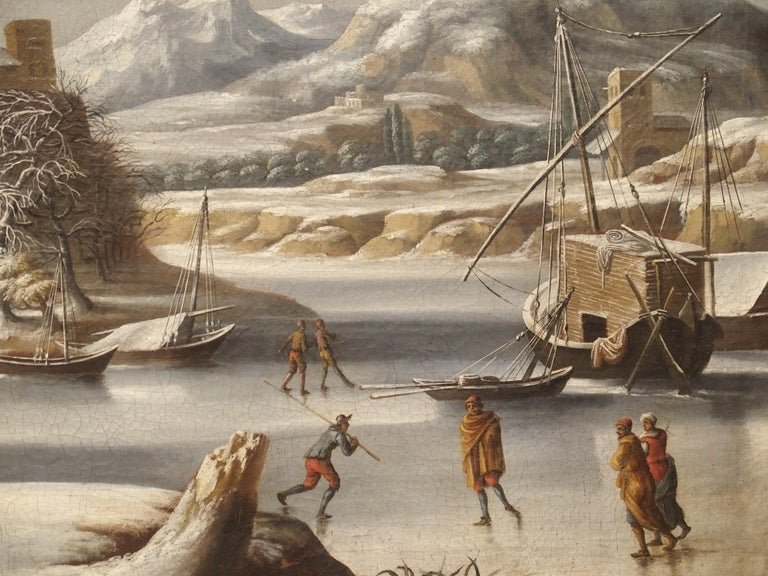 "This large outdoor winter scene in a giltwood frame was painted in the Netherlands in the 1600's. It was in the early to mid 1600s that Belgium and the Netherlands experienced what is known as ""the little ice age"". Scientists can now confirm that"