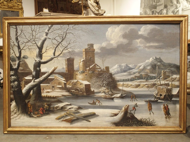 Large 17th Century Dutch Winter Scene Painting in Giltwood Frame For Sale 14
