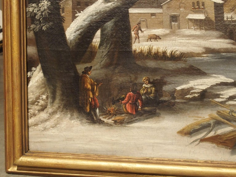 Large 17th Century Dutch Winter Scene Painting in Giltwood Frame In Good Condition For Sale In Dallas, TX