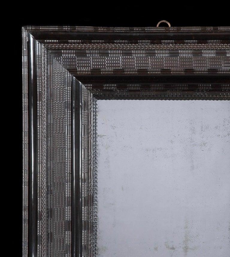 Pearwood Large 17th Century Ebonised Cushion Mirror For Sale