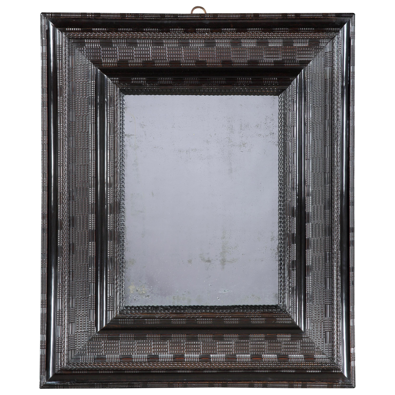 Large 17th Century Ebonised Cushion Mirror