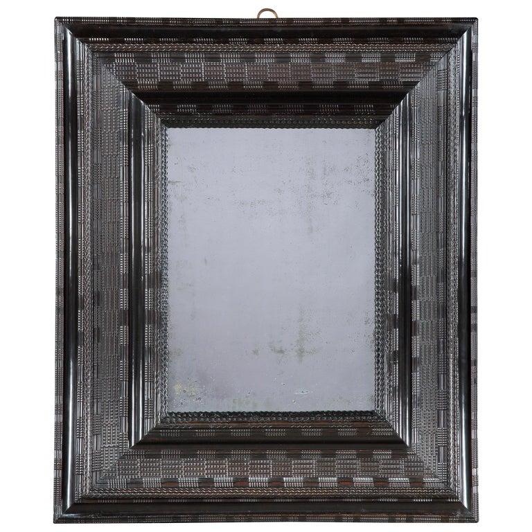 Large 17th Century Ebonised Cushion Mirror For Sale