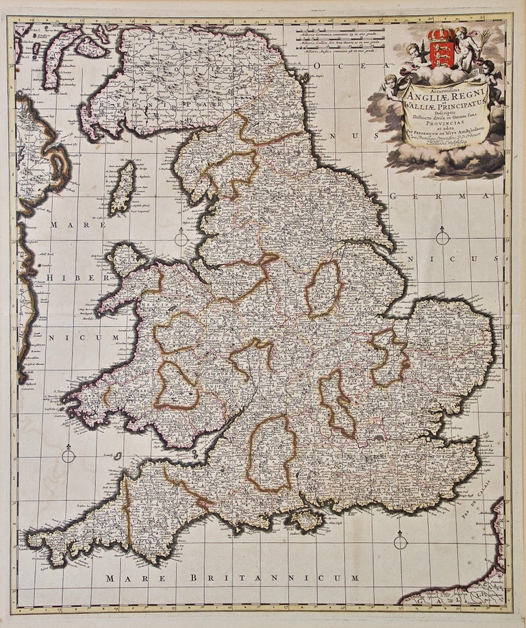 A large hand colored 17th century map of England and the British Isles by Frederick de Wit entitled