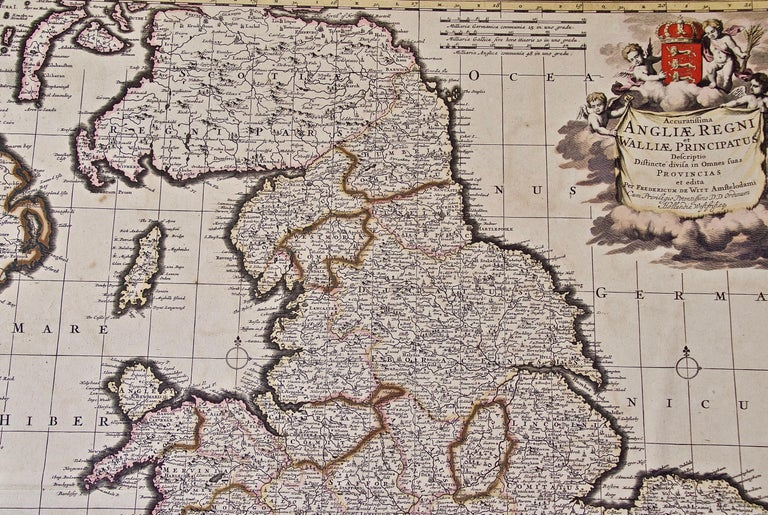 Paper Large 17th Century Hand Colored Map of England and the British Isles by de Wit For Sale