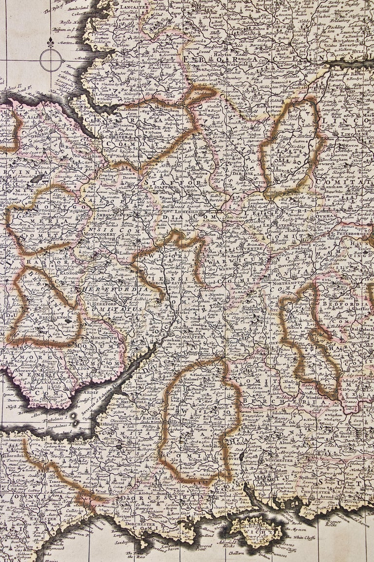 Large 17th Century Hand Colored Map of England and the British Isles by de Wit For Sale 1