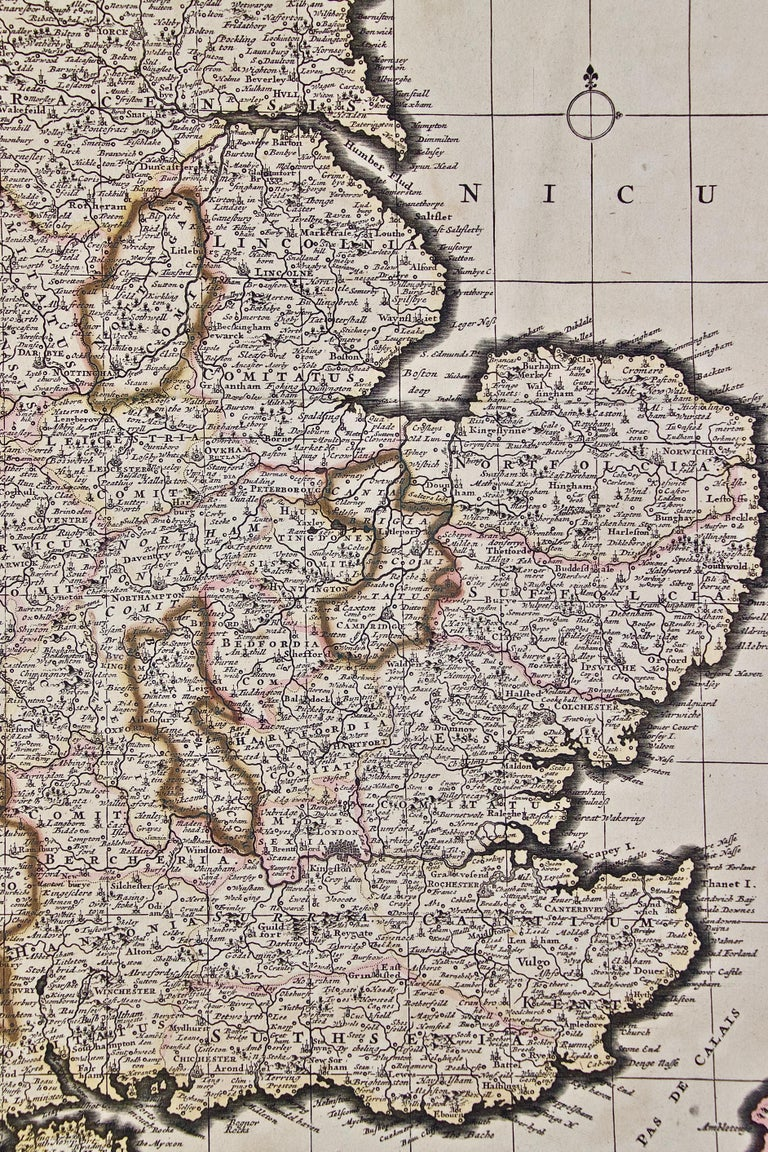 Large 17th Century Hand Colored Map of England and the British Isles by de Wit For Sale 2