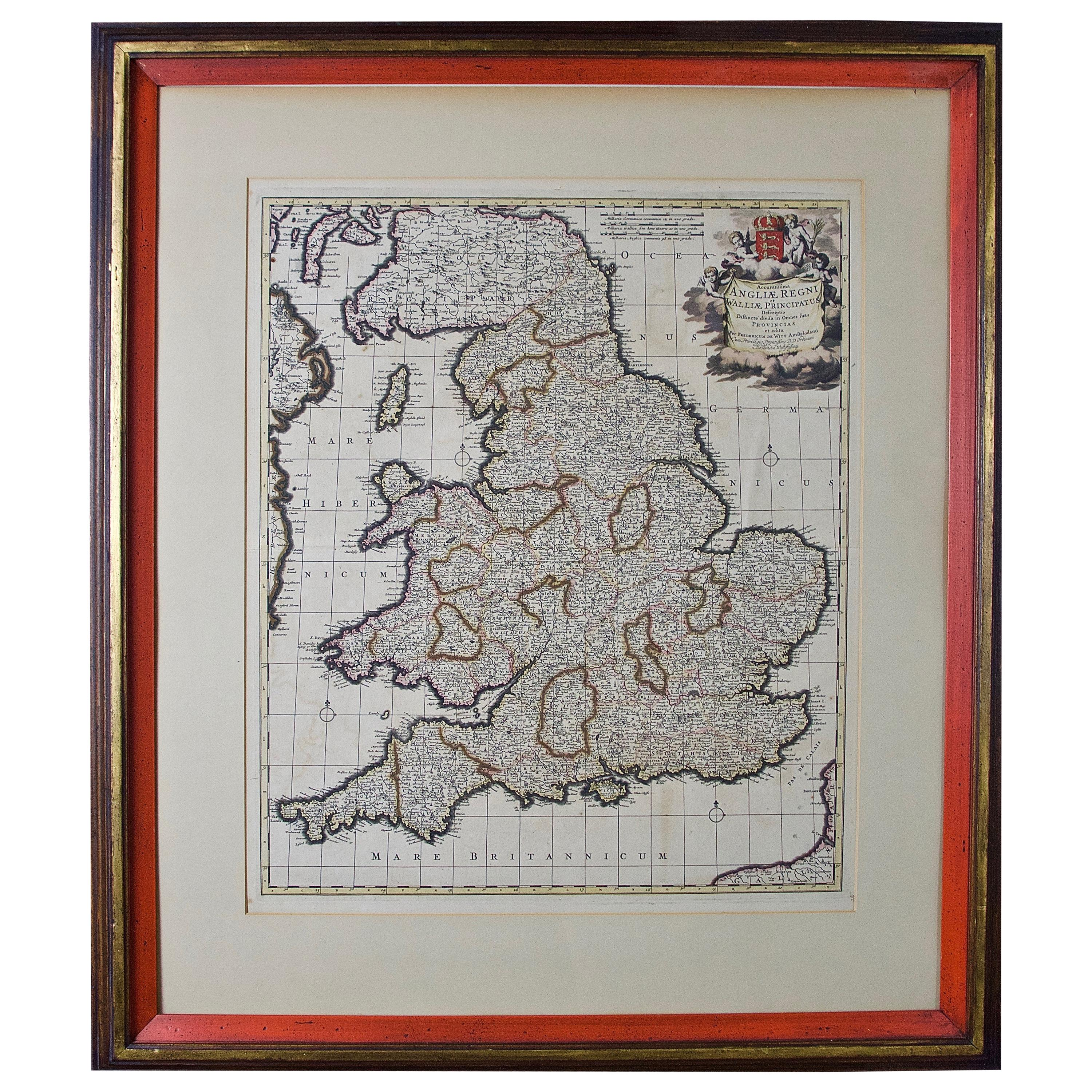 Large 17th Century Hand Colored Map of England and the British Isles by de Wit