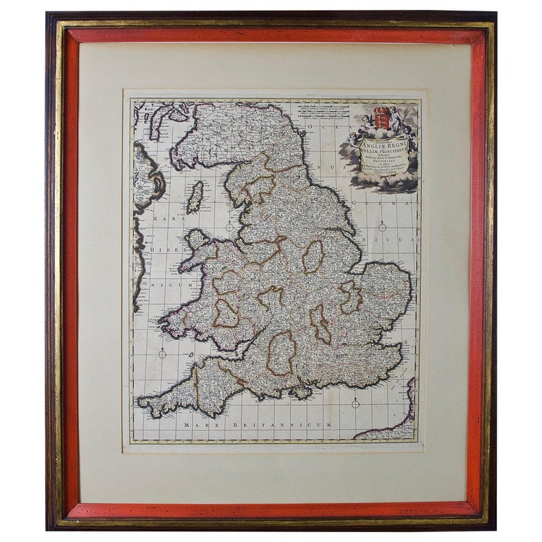 Large 17th Century Hand Colored Map of England and the British Isles by de Wit For Sale
