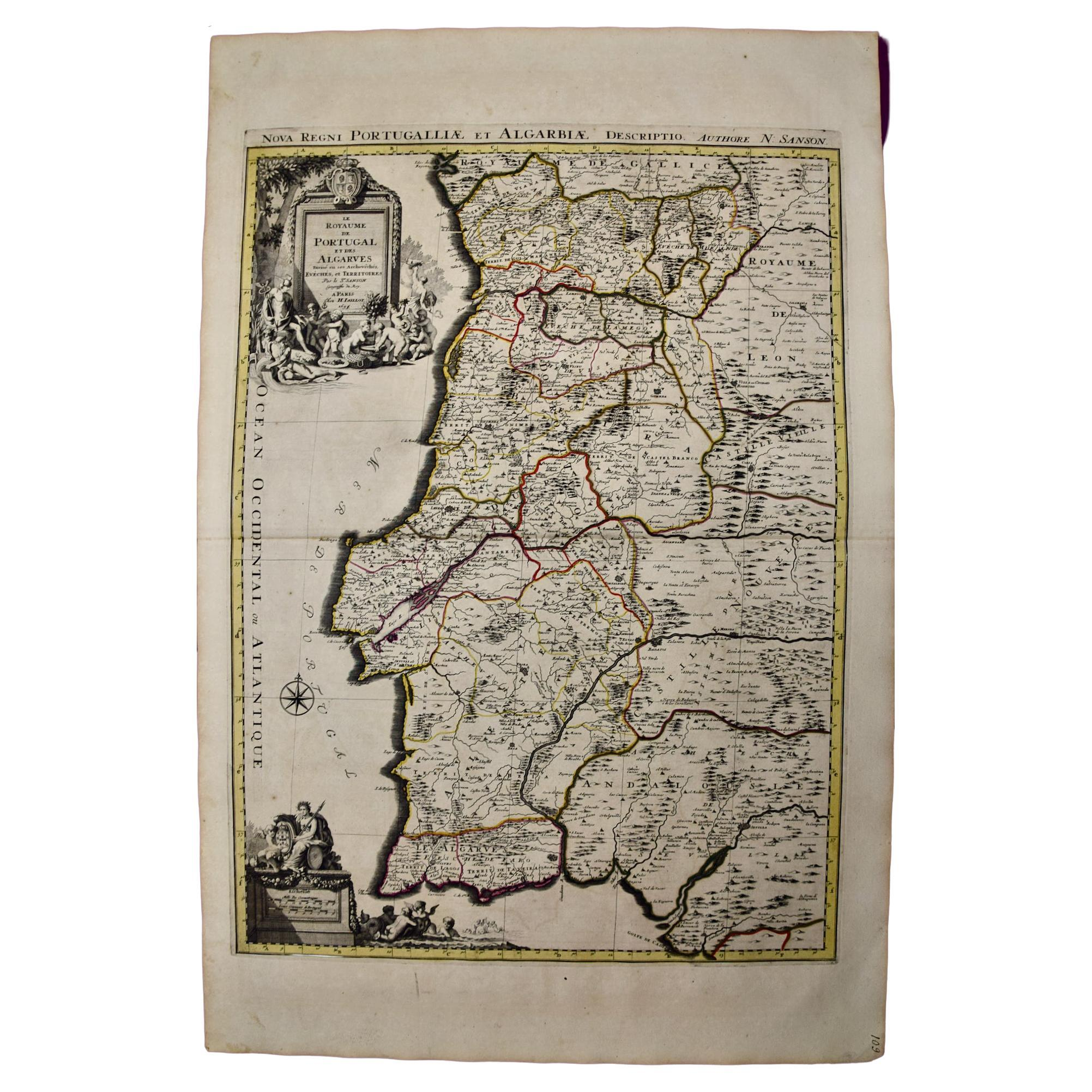 Large 17th Century Hand-colored Map of Portugal by Sanson and Jaillot