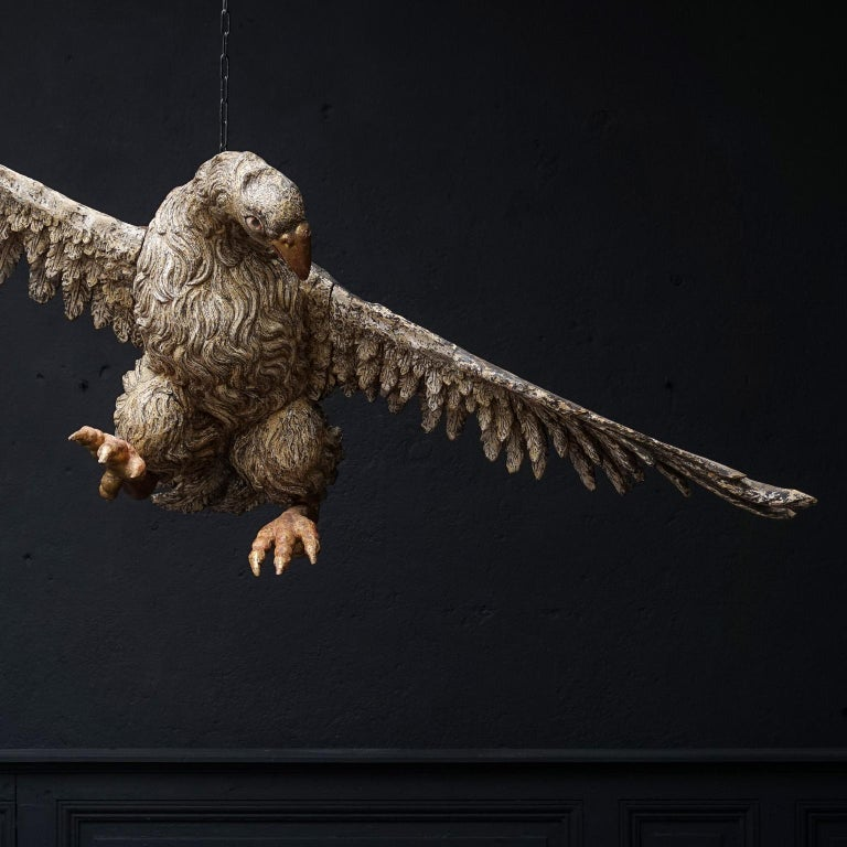 Large 17th Century hanging Italian Eagle or Bird of Prey Sculpture For Sale 5