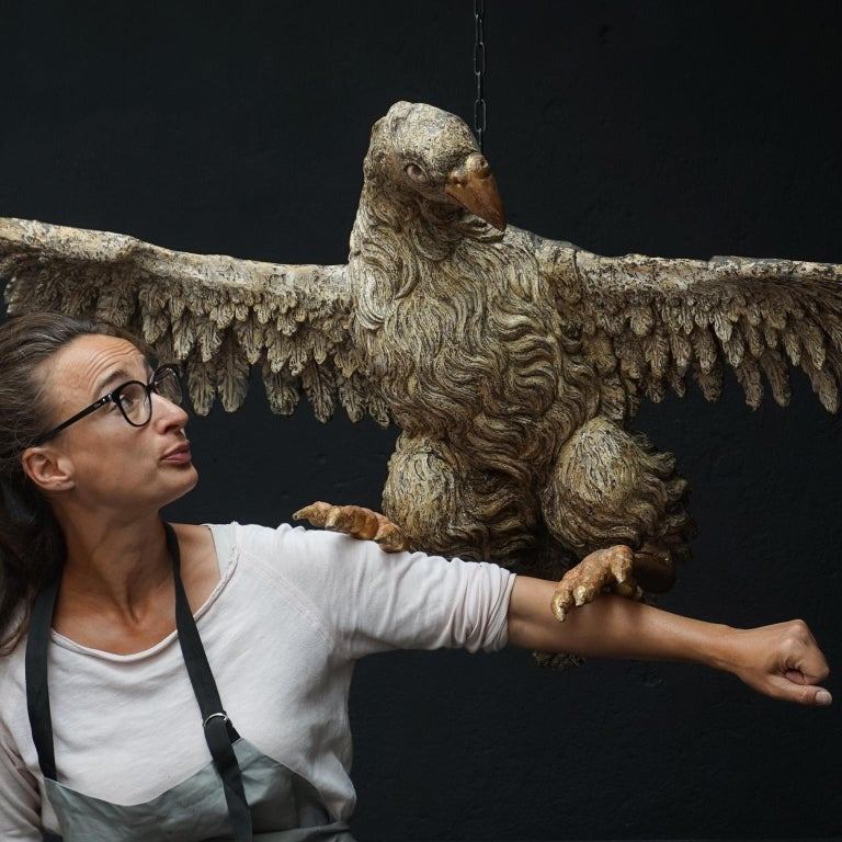 Hand-Carved Large 17th Century hanging Italian Eagle or Bird of Prey Sculpture For Sale
