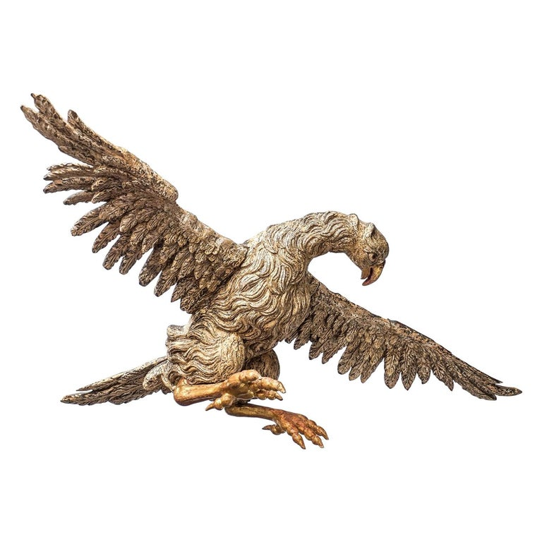 Large 17th Century hanging Italian Eagle or Bird of Prey Sculpture For Sale