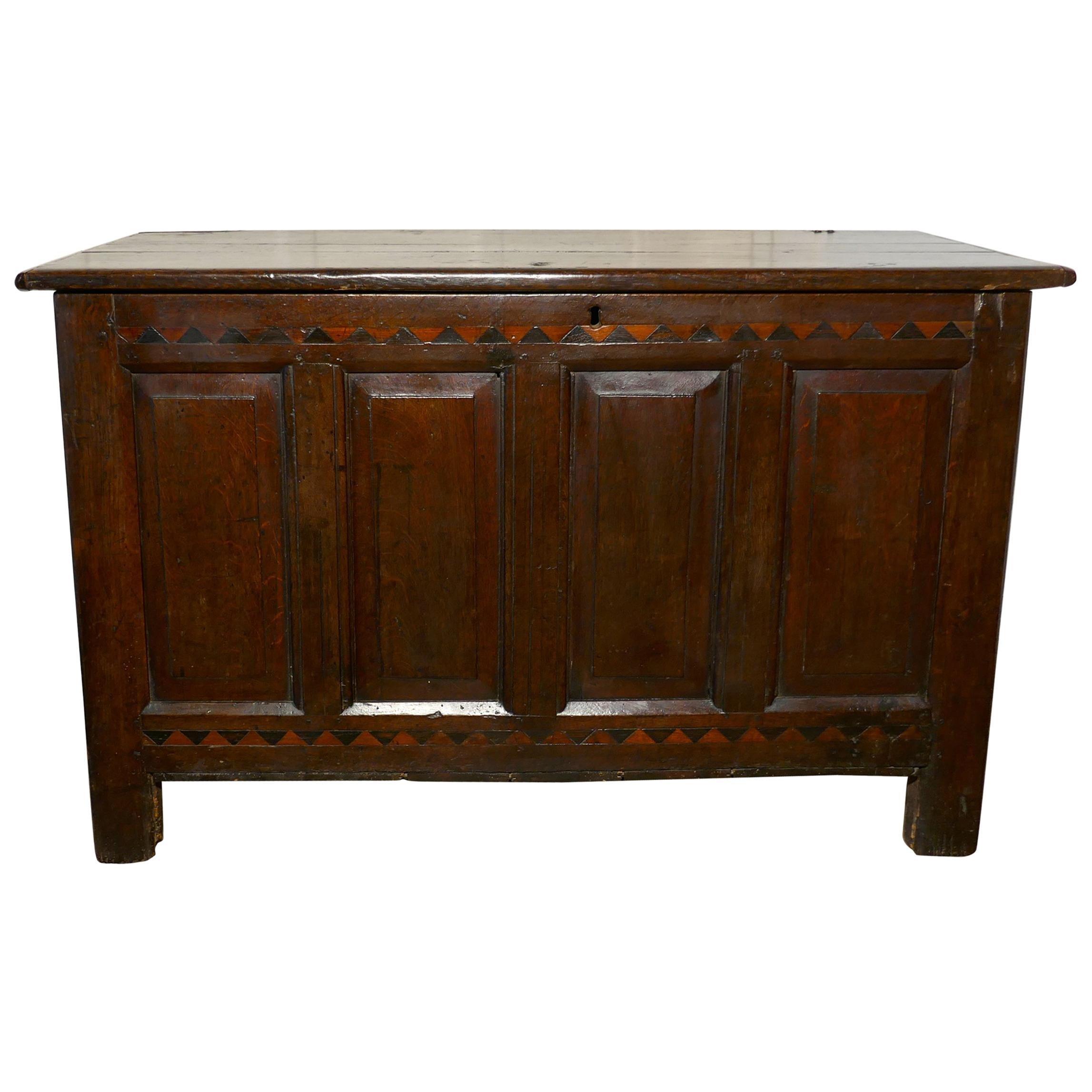 Large 17th Century Inlaid Panelled Oak Coffer